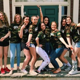 Seniors from the class of 2018 pose outside of the classroom building on their last day of school before Senior Projects begin.