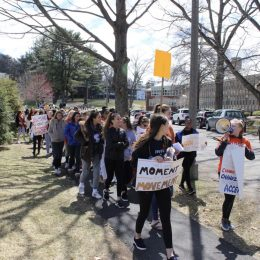 Present-day Student Activism: a group of Dana students participate in the recent student-organized walkout in support of ending gun violence on April 20, 2018 — photo credit: CC Dent